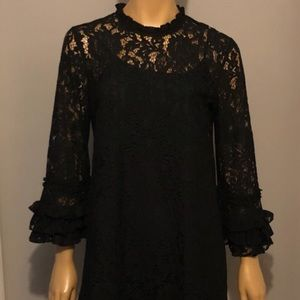 NWOT Who What Wear black lace dress, ruffle sleeve